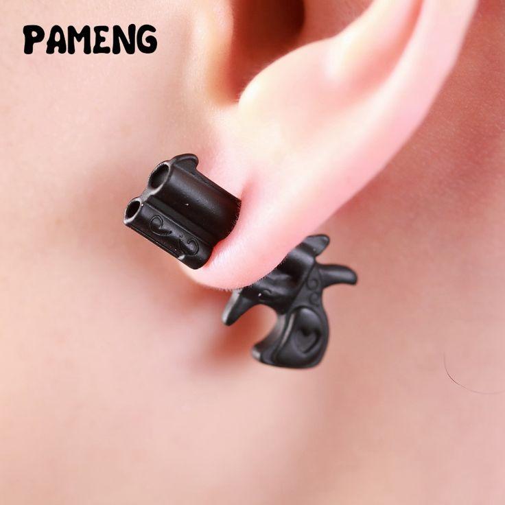 Pameng New Fashion Black Punk Small Bullet  and pistol gun stud earrings For Women asymmetry Jewelry E0493