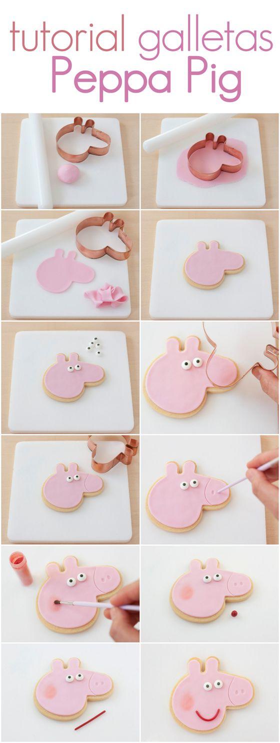 Tutorial para hacer unas galletas de Peppa Pig muy fáciles! http://www.azucarillosdecolores.com/2014/09/galletas-de-peppa-pig.html