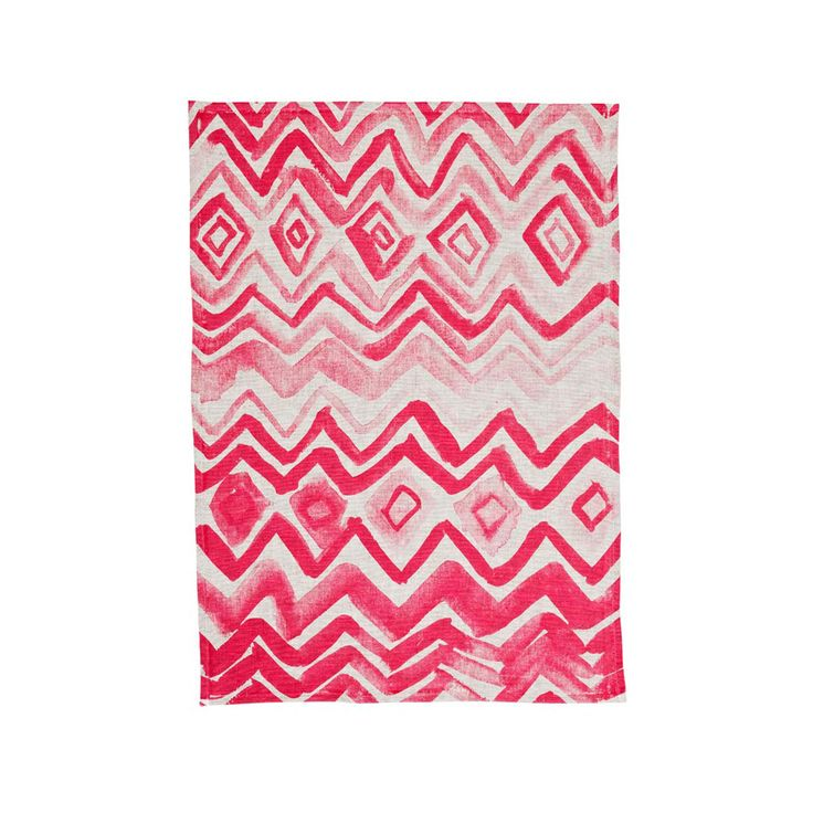 HP Chevron in pink - 100% oat linen tea towel hand screen printed $35   Bonnie and Neil