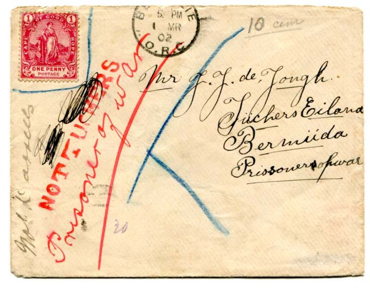 "Bermuda (BOER WAR) 1902 censored envelope addressed to Tuckers Island Bermuda franked CGH 1d adhesive with line around denoting invalid postage part ""BETHULIE O.R.C."" cancellation on the front. On arrival straight line ""NOT TUCKERS"" in red and manuscript NOT DARRELLS applied."