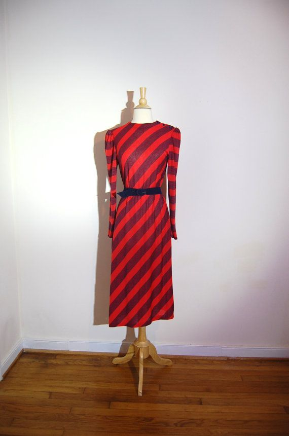Diagonal Stripe Dress Tea Length Red Navy by MerakiVintageShop