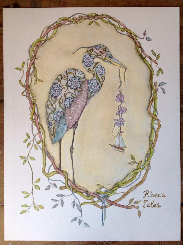 Bird illustration #watercolor #airone
