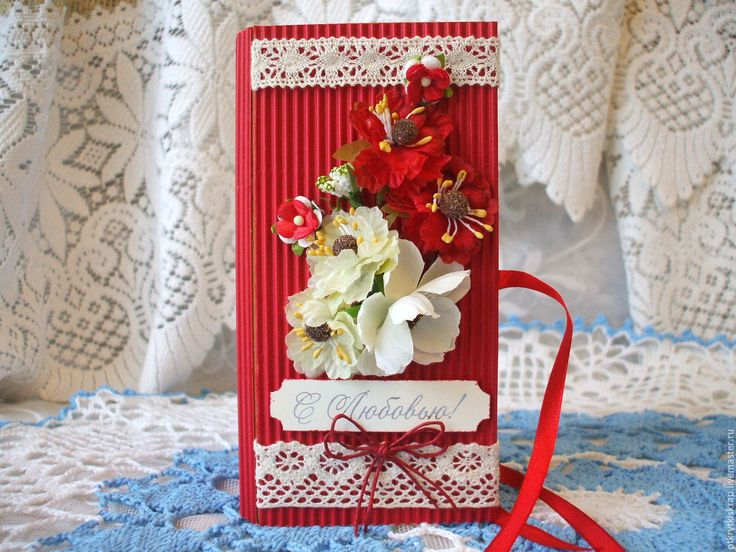 Красная открытка скрапбукинг