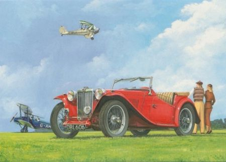 MG TC Car & De Havilland Tiger Moth Aircraft - mg tc, plane, vintage, car, tiger moth