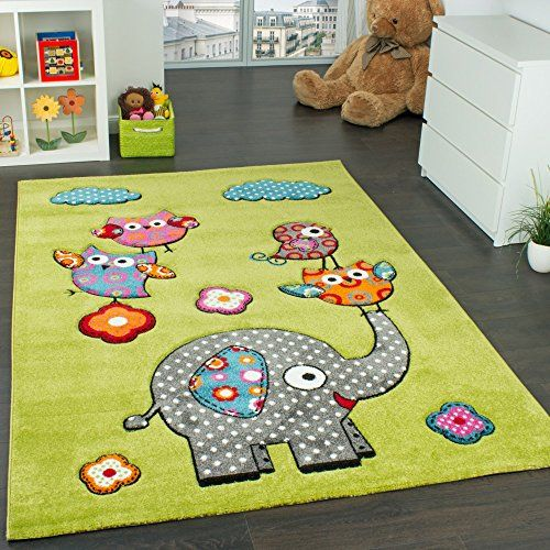 Children S Room Rug Cute Zoo Animals Owls And Elephants Green Blue Grey Red Size