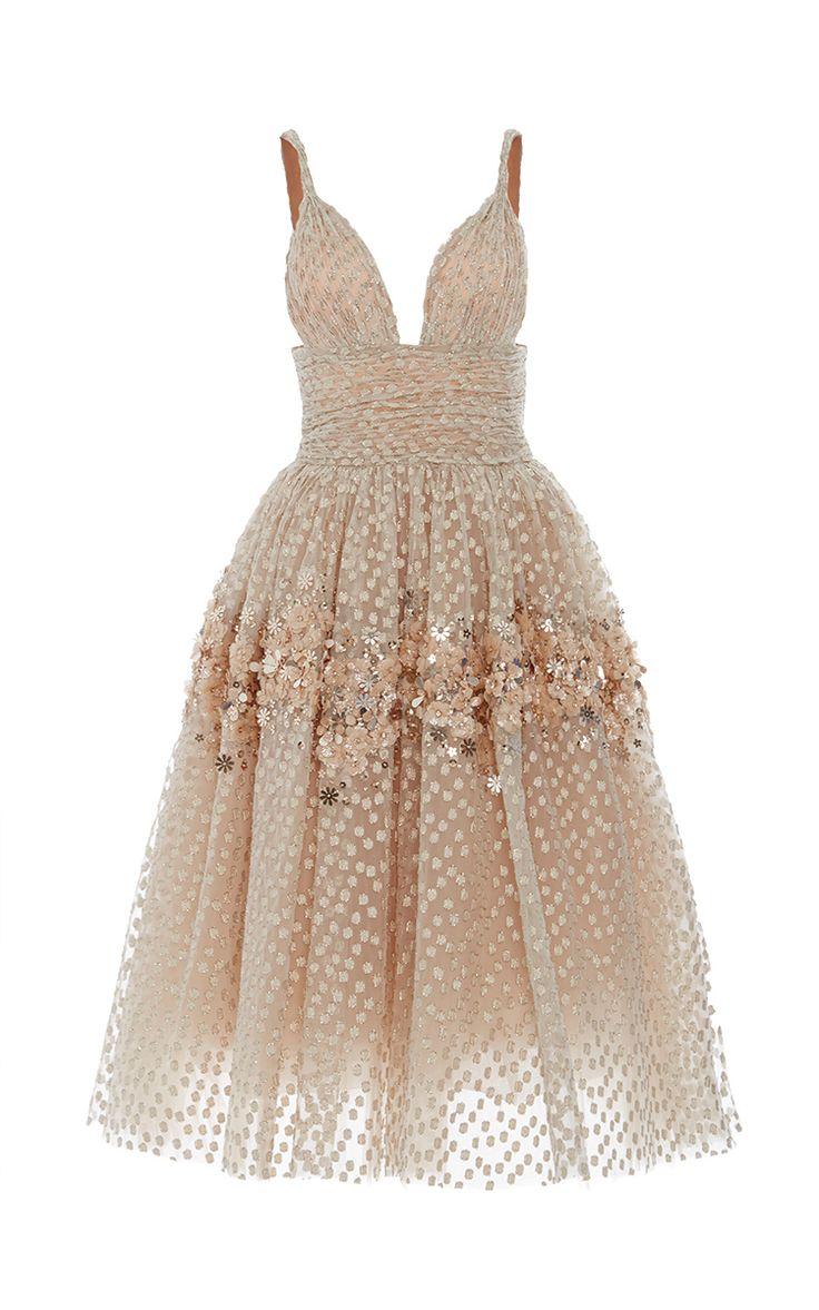 Embellished Tea Length Gown by CAROLINA HERRERA for Preorder on Moda Operandi