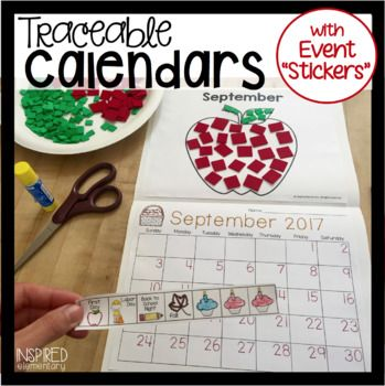 """Traceable Monthly Student Calendars: with EVENT """"STICKERS"""""""