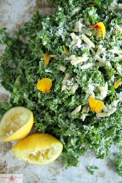 Kale Salad with Lemon, Almond and Pecorino by Heather ChristoKale Salad Recipes, Health Food, Clean Eating, Kale Salads, Healthy Eating, Food Healthy, Healthy Food, Cooking Foodists, Heather Christo