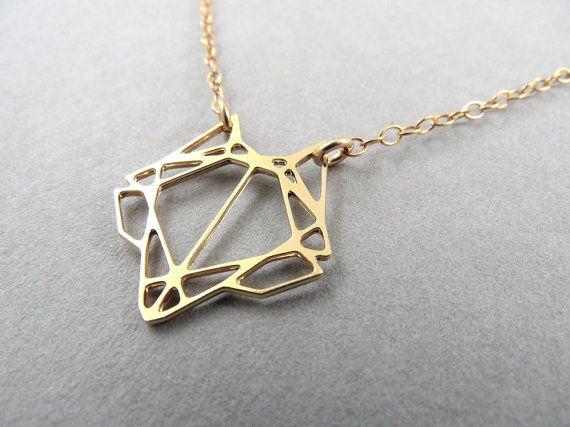 trophy head, Mini fox Necklace, fox head, geometric fox, geometric jewelry, geometric necklace, gift for her, gift under 50, foxy necklace