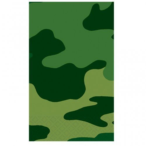 "Camouflage Tablecover by AMSCAN *. $4.49. Army Camouflage. Kids' Party Supplies. Have an army birthday party! Camouflage tablecover completes your tableware setting. Paper tablecover features a white center with green camouflage side borders. Tablecover measures 54"" x 102""."