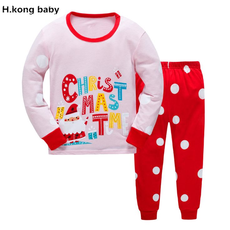 H.kong baby Autumn Children pajamas sets Boys Sleepwear 100 % Cotton Girls Christmas pajamas dinosaur Printed kids pajamas sets