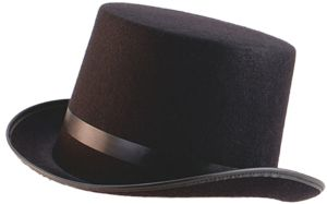 XL Black Top Hat - The top hat is made out of felt. It has a small pleather ribbon around the base and edge of it. The hat is about 28x24x15cm and has almost 23 inch circumference.  This felt top hat is the perfect accessory to finish off that Steampunk or themed costume. #hat #yyc #costume #classic