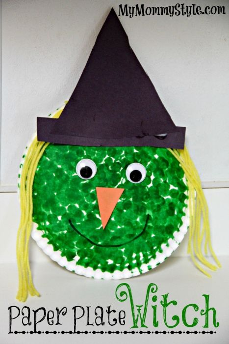 halloween art project, paper plate witch, paint dot art, art projects for  kids