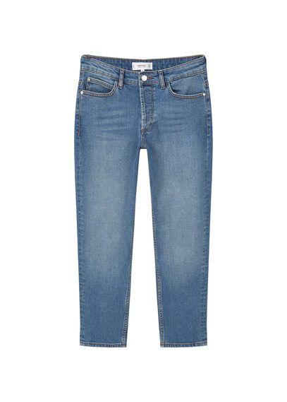 Mango - Kısa paçalı yüksek bel Retro jean pantolon
