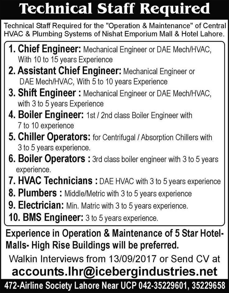 Nishat Emporium Mall \ Hotel Jobs 2017 In Lahore For Chief - chief engineer job description
