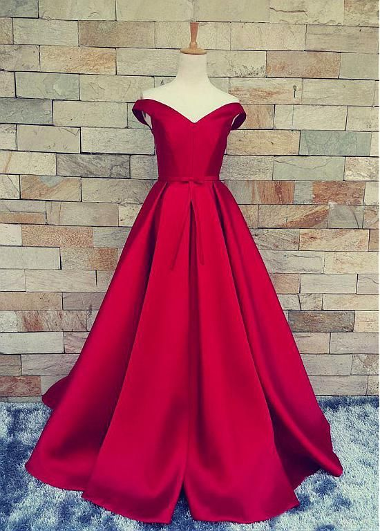 Buy discount Marvelous Satin Off-the-shoulder A-Line Prom Dresses With Pleats at Dressilyme.com