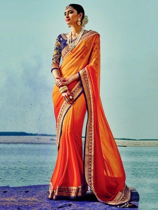 Orange Silk Georgette Saree with Lace Work