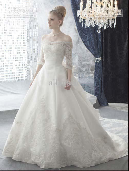 Wholesale - 2013 Elegant Cap Sleeves 3/4 Sleeves A-line Wedding Dresses With Lace Train and Big Bow wd040 US $211.78