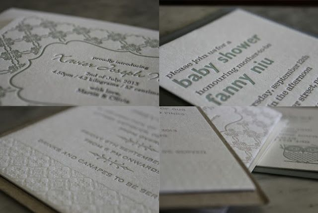 Letterpress announcements, invitations...