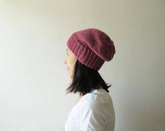 Light Dry Rose Slouchy Hat Pink Hand Knit Chunky Slouch