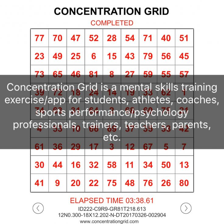 Best Mental Focus Grids Concentration Grids Images On