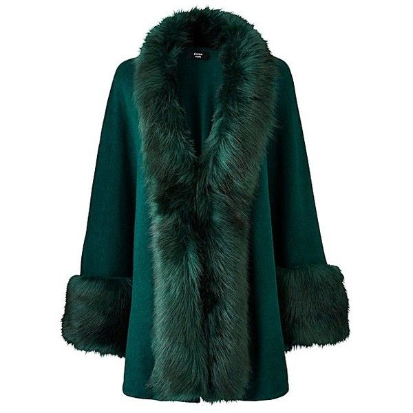 JOANNA HOPE Faux-Fur Trim Cape ($36) ❤ liked on Polyvore featuring outerwear, evening cape, green cape coat, cape coat, green cape and faux fur trimmed cape