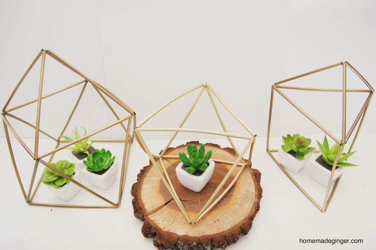 homemade ginger: DIY Geometric Planters (rietjes, ijzerdraad en goude verf)
