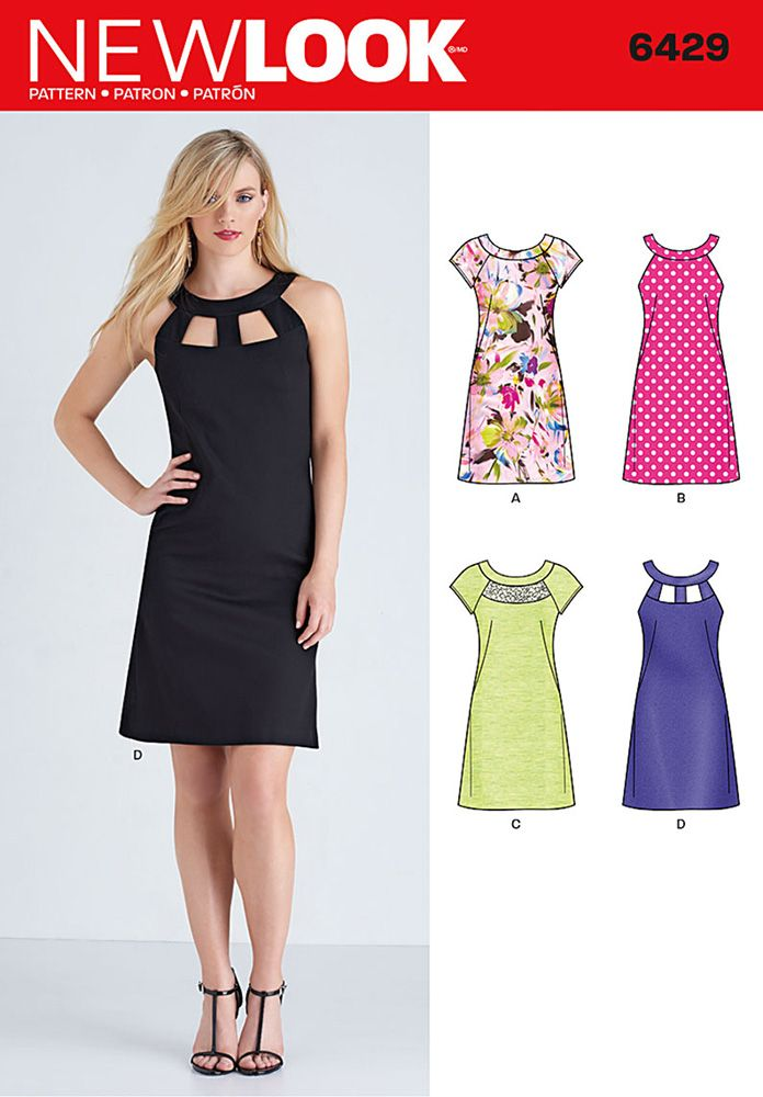 Misses Dresses New Look Sewing Pattern 6429. Size 10-22.