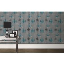 Wilko chandelier wallpaper teal grey wp332112 fashion for walls pinterest all - Teal wallpaper wilkinsons ...