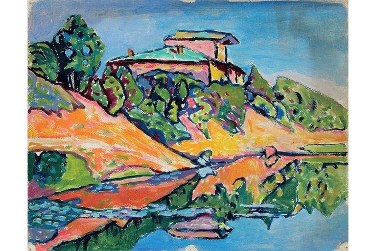 Wassily Kandinsky (Russian, 1866 – 1944), Achtyrka—A Neighboring Dacha on the Pond (Achtyrka—Eine Nachbar-Datscha am Teich), 1917  More Information: http://artdaily.com/news/72069/Final-weeks-of--Kandinsky--A-Retrospective--at-the-Milwaukee-Art-Museum#.U-iw_fldXMU[/url] Copyright © artdaily.org