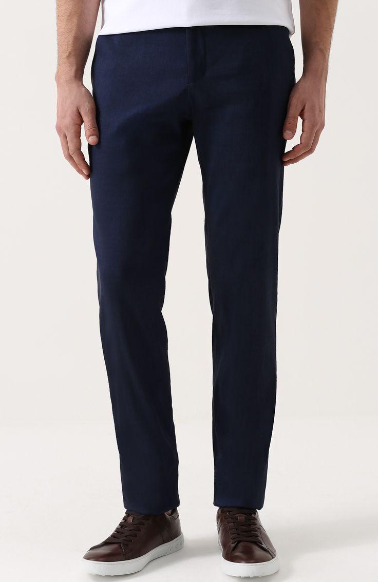 Мужские темно-синие льняные брюки прямого кроя Giorgio Armani, сезон SS 2017, арт. VSP040/VS512 купить в ЦУМ | Фото №3