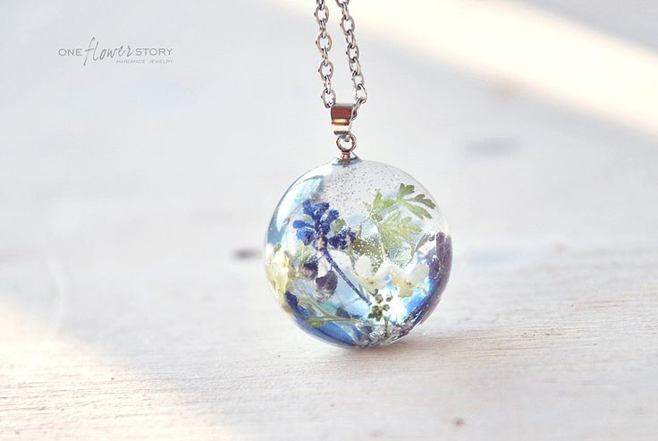 Blue Forgetmenots & Muscari flower in Resin necklace- Sphere resin pendant with real flowers -Real plant in Globe ball- gift for her by OneFlowerStory on Etsy