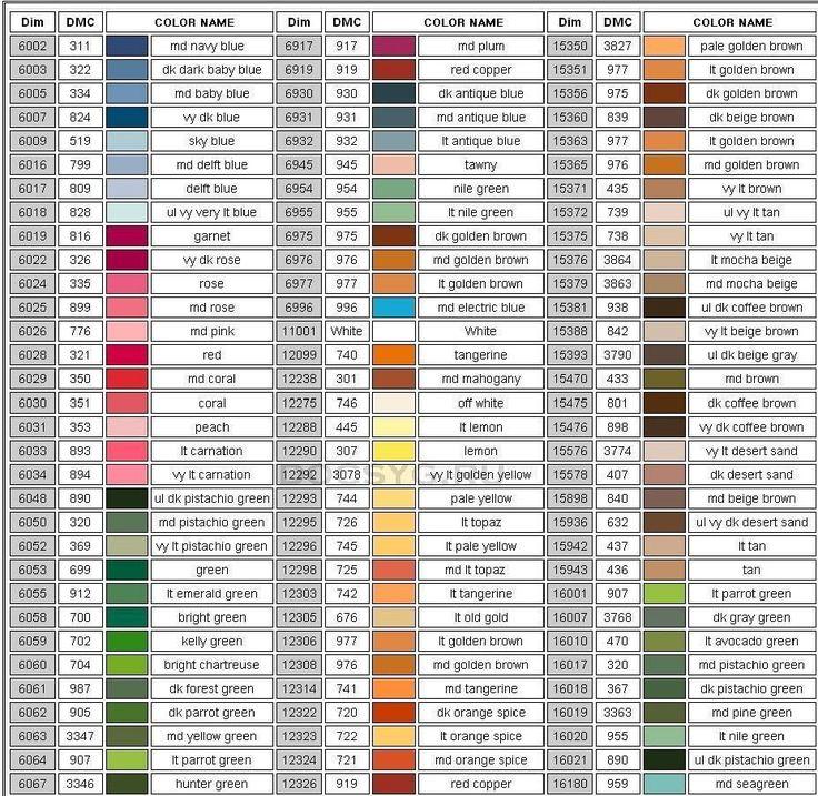 карта цветов мулине Dimension 1
