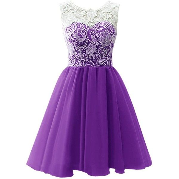 Dresstells Short Tulle Prom Dress Bridesmaid Homecoming Gown with Lace (£45) ❤ liked on Polyvore featuring dresses, gowns, purple, vestidos, homecoming dresses, prom dresses, bridesmaid dresses, lace dress and purple prom dresses