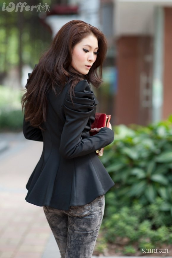 OL Blazer One Button Shrug Shoulder women Jacket JE052