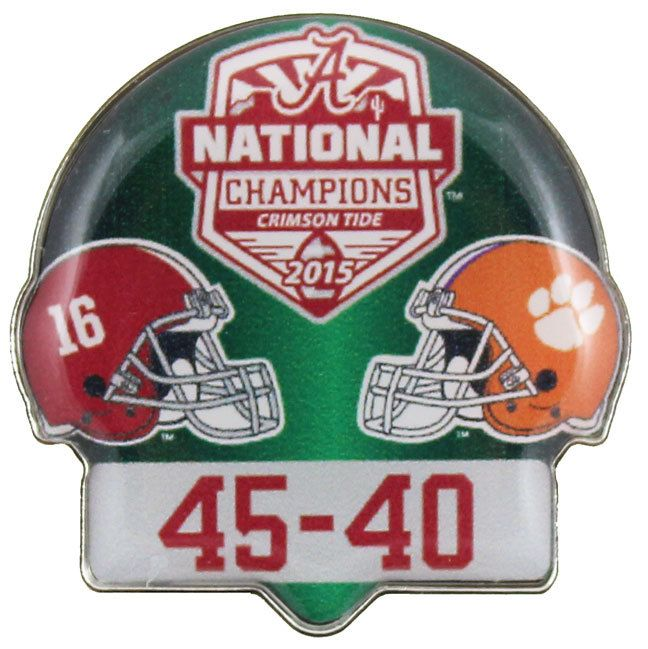 Collect this 2016 College Football National Champs Dueling Pin With Score - Alabama vs. Clemson and commemorate the 2016 College Football Season
