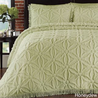 @Overstock.com - Arianna Chenille 3-piece Bedspread Set - Available in a variety of vibrant colors, this bedspread set also includes at least one matching sham. The cotton surface is shaped into a lovely circle of flowers design.  http://www.overstock.com/Bedding-Bath/Arianna-Chenille-3-piece-Bedspread-Set/8237289/product.html?CID=214117 $149.99
