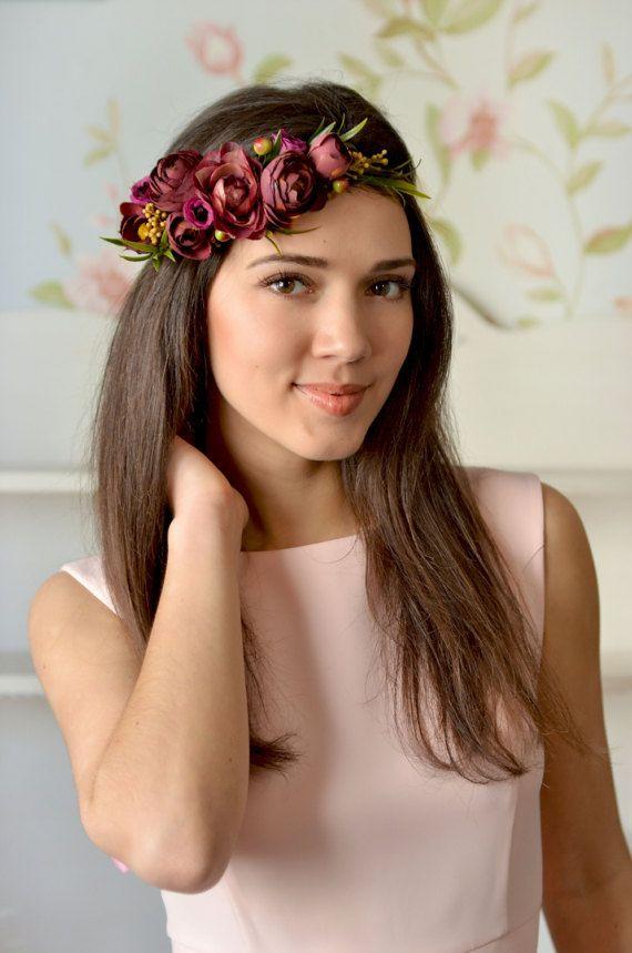 Boho Wedding floral crown Purple Ranunculus hair wreath Bridal