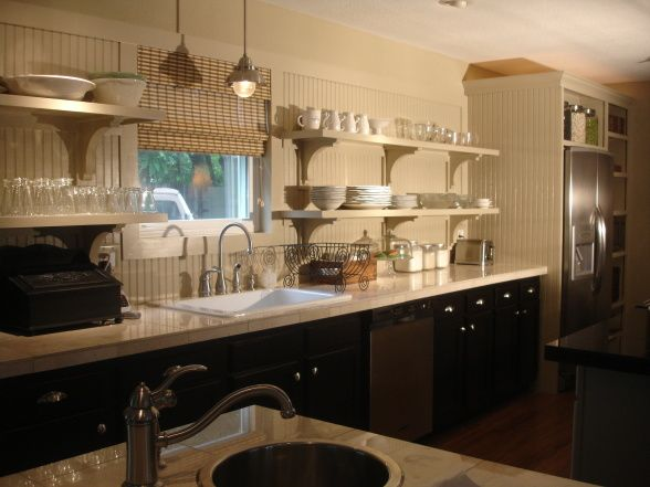 Pottery barn style open shelving kitchen repost hubby for Pottery barn style kitchen ideas