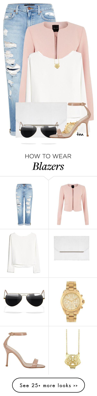 """Pink Blazer & Boyfriend Jeans"" by matulik77 on Polyvore"