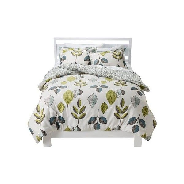 Scandinavian Leaves Comforter Set : Target ($56) ❤ liked on Polyvore featuring home, bed & bath, bedding, comforters, leaf comforter and leaf bedding