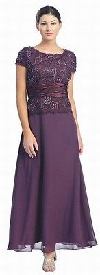 10 COLORS FORMAL MODEST MOTHER OF THE BRIDE GROOM DRESS EVINING Sizes M To 5XL