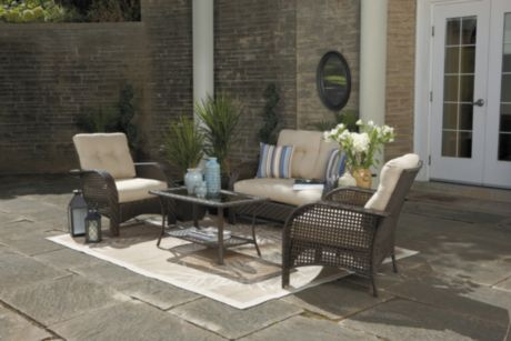 Hometrends Tuscany 4 Piece Cushioned Wicker Conversation