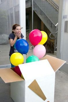 Fill a big box with small gifts, candy, or money (and balloons). When opened, the person receiving the gift is in for a surprise! DIY