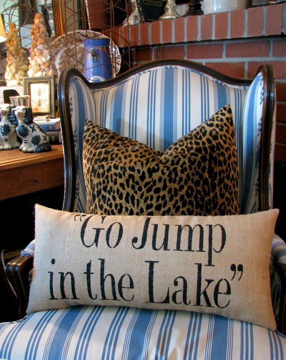 For grandma for Xmas... Go Jump in the Lake pillow by heididevlin on Etsy, $64.00