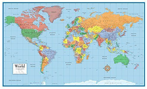amazon com 24x36 world classic elite wall map mural on laminated wall maps id=71215