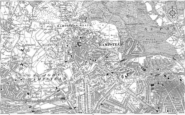Old map of Hampstead.