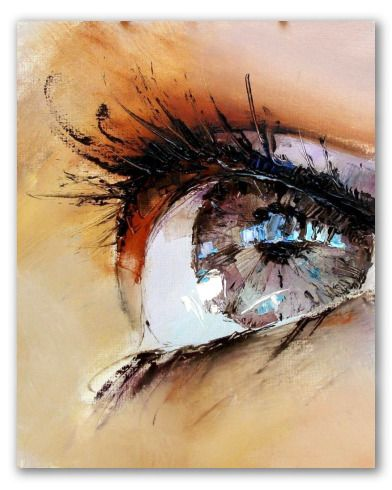 Lienzo moderno que muestra un acercamiento extremo al ojo de una muchacha.  La anatomía, los reflejos y las pestañas están construidas con toda clase de detalles, mediante pinceladas gruesas que en su conjunto forman una figura afinada y realista.