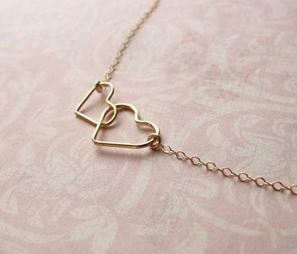 Double Heart Gold Necklace by Olive Yew