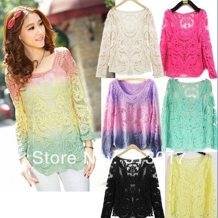 S-XL Womens Gradient Colors Sheer Embroidery Floral Lace Crochet Long Sleeve top bluse #BK888 $11.99 - 14.99